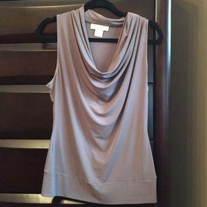 Michael Kors taupe cowl neck sleeveless